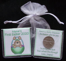 PERSONALISED LUCKY SIXPENCE BABYS FIRST EASTER KEEPSAKE GIFT GIRL BOY 5 DESIGNS