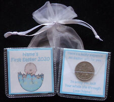 PERSONALISED LUCKY SIXPENCE BABYS FIRST EASTER KEEPSAKE GIFT GIRL BOY 7 DESIGNS