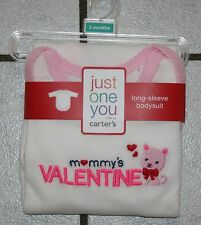 NWT Girls Just One You by Carter's MOMMY'S VALENTINE Long Sleeve Bodysuit Inf Sz