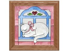 Cats 13x13 Hand Painted Stained Art Glass Window Suncatcher By Silver Creek