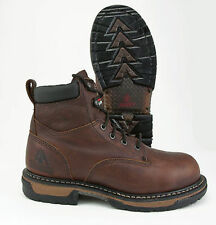 ROCKY IRON CLAD BROWN LEATHER STEEL TOE WATERPROOF WORK BOOT 6696 - WIDE