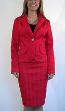 Boutique Ladies Red 2 Piece Skirt Blazer Office Casual Suit Costume 10 12 14 16