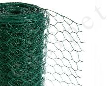 PVC Coated Green Chicken Rabbit Wire Mesh Fence Fencing 25mm x 25m 3 widths
