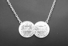 STERLING SILVER DOUBLE LUCKY SIX PENCE COIN PENDANT NECKLACE 2 TWO CHLOE CALLOW