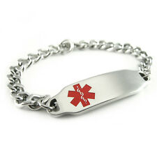 Kids Steel Medical Alert ID Charm Bracelet Engraved Free Sizing & ID Card i2CBS1