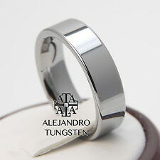 Alejandro Tungsten Carbide Ring 6MM Pipe Cut Polished Wedding Band - TG022