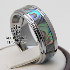 Tungsten Ring Anniversary Wedding Band 8MM Strong Shell Design Size 6 to 14