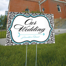 Personalized Love Bird Damask Wedding Reception Ceremony Directional Lawn Sign