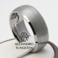 Tungsten Ring Band Wedding Anniversary 8MM Genuine Brushed Design Size 6 to 14