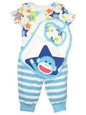 Boys Baby Starters Infant 3 Piece Star Sock Monkey Bodysuit Bib Newborn Outfit