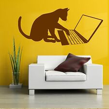 Tom Cat Laptop Funny Pet Animal Wall Sticker / Home Art Decor / Decal Design A18