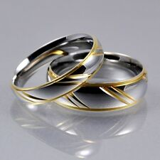 Mens Women Silver Gold Stainless Steel 4mm 6mm Matching Wedding Bands Ring