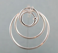 Silver Finished Brass Hoop Earrings w/ Spring Closure Non-Pierced Pick Your Size