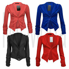 H1C LADIES WOMENS ROUCHED SLEEVE 6 BUTTON DETAIL BLAZER / OFFICE JACKET 8-14