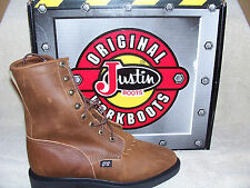 """Justin Mens 764 Steel Toe 8"""" Aged Bark Lace Up Double Comfort Made In USA"""
