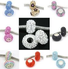 UK 925 Sterling Silver Crystal Pave Charms Beads For European Charm Bracelets