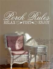 Porch Rules Relax Visit Enjoy Vinyl Decal Wall Sticker Words Lettering Letters