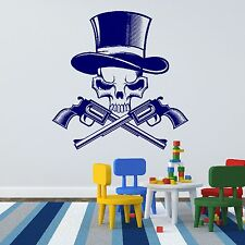 Skeleton Skull Gun Wall Sticker Art Mural Design Vinyl Transfer Stencil Boys R2