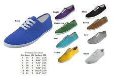 WOMENS LADIES PLIMSOLL CANVAS LACE UP SNEAKER SHOES DESIGNER COLORS 5 6 7 8 9 10