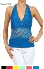 LACE HALTER NECK CAMISOLE TANK TOP S M L  ASSORTED COLORS