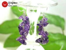SALE 40mm grape shape purple natural Amethyst Dangle earrings silver hook-ear127