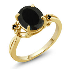 2.22 Ct Oval Black Onyx Diamond Gold Plated 925 Silver Ring