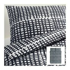 NEW IKEA BJORNLOKA RUTA BLACK WHITE CHECK DUVET COMFORTER COVER PILLOWCASE SET