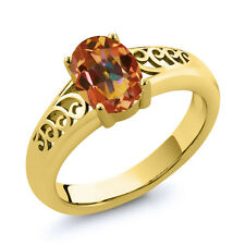 0.95 Ct Oval Ecstasy Mystic Topaz Gold Plated 925 Silver Ring