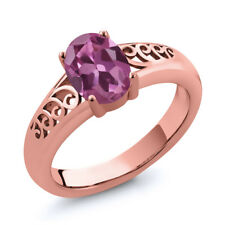 0.85 Ct Oval Pink Tourmaline Gold Plated 925 Silver Ring