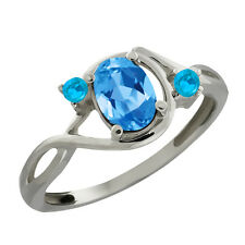 0.90 Ct Oval Swiss Blue Topaz and Simulated Topaz 925 Sterling Silver Ring