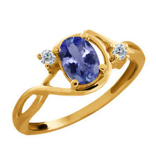 0.81 Ct Oval Tanzanite and Diamond Gold Plated 925 Silver Ring