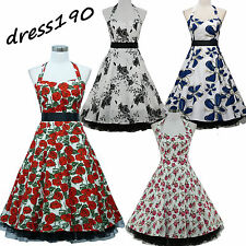 dress190 WHITE HALTER NECK FLORAL 50s ROCKABILLY SWING PROM VINTAGE PARTY DRESS