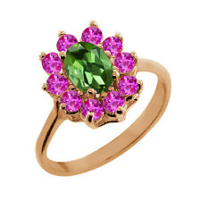1.35 Ct Oval Tourmaline Pink Sapphire Rose Gold Plated 925 Silver Ring