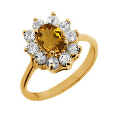 1.10 Ct Oval Champagne Quartz White Topaz Gold Plated 925 Silver Ring