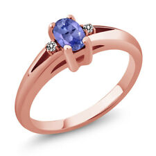 0.49 Ct Blue Oval Tanzanite and White Diamond Rose Gold Plated Silver Ring