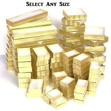 LOT of 20~50~100 Pcs GOLD COTTON FILLED BOXES w/CLEAR LID TOP NECKLACE GIFT BOX