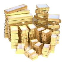 WHOLESALE BOXES 100 GOLD COTTON FILLED BOXES w/Clear View Lid JEWELRY GIFT BOXES