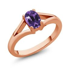 0.75 Ct Oval Purple Amethyst Rose Gold Plated Silver Ring