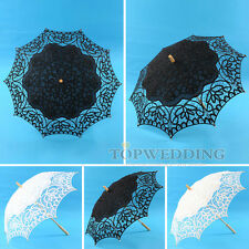 "33"" Handmade Battenburg Lace & Cotton Parasol Embroidery Bridal Wedding Umbrella"