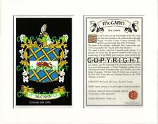 MC CALLION to MC CORMACK Family Coat of Arms Crest + History - Mount or Framed