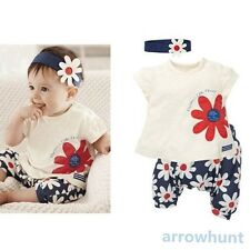 3pcs Baby Girl Kid T-shirt Headband+Top+Pants Shorts Flower Outfit Clothes Set