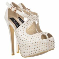 Ladies Womens Strappy Studded Stiletto Platform High Heels Party Shoes White PU