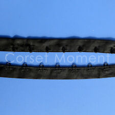 Black Cotton Hook and Eye Loop Tape Corset Bustier Lingerie Fastener 1 Inch Wide