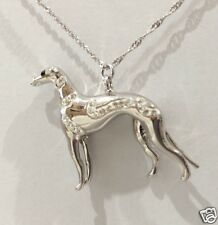 3D Crystal Silver Greyhound Dog Pendant or Charm by Zedelle Jewellery-Animals