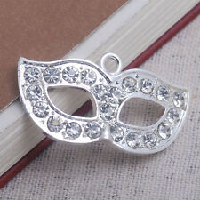 Crystal Rhinestone mask masque pendant fit necklace charm bead jewelry accessory