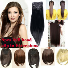 "8 17 21 23 24"" Full Head Clip in on 52 Styles hair extensions bangs Ponytail ssn"