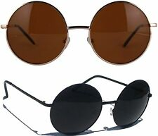 Oversized Round Sunglasses Hippie Shades Retro Smoked Lenses Gold or Black Frame