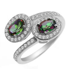 1.75 Ct Oval Green Mystic Topaz 925 Sterling Silver Ring (Oval Topaz: 6x4mm)