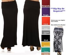 PLUS SIZE BANDED WAIST LONG FORM FITTING MAXI SKIRT FULL LENGTH XL 2XL 3XL