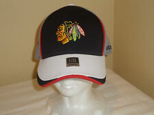 New Mens Reebok Chicago Blackhawks Flex-Fit Hat Cap Black Gray White Red